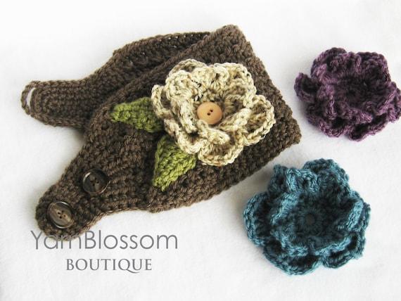 Crochet Ear Warmer Pattern Ear Warmer With Interchangeable Etsy