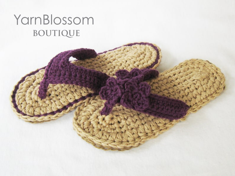 595c83bd4ab1e0 CROCHET PATTERN Indoor   Outdoor Violet Flip Flops 4