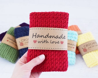 Classic Crochet Dishcloths - CROCHET PATTERN - 6 different crochet patterns with printable lables and gift tags, beginner pattern
