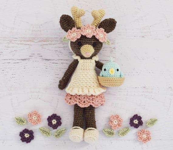 Crochet Pattern Tessa Tulip Deer Doll Stuffed Toy Etsy