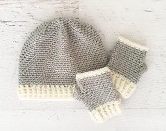 CROCHET PATTERN - Aspen Beanie and Gloves - fingerless gloves crochet hat wrist warmers mittens toddler child adult sizes instant download