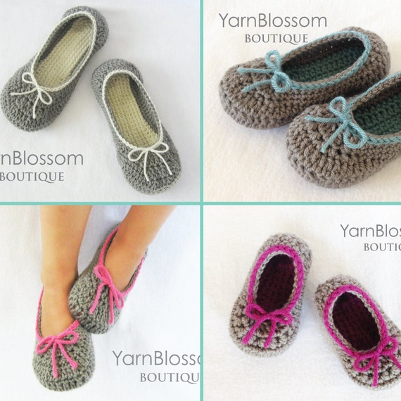 Slippers Crochet Pattern Mommy And Me Slippers 23 Shoe Etsy