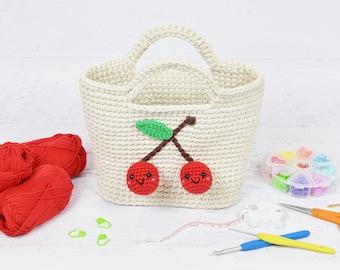 CROCHET PATTERN - Cherry Handbag - instructions to make a crochet bag, tote, kawaii purse, amigurumi cherries
