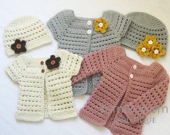 CROCHET PATTERN - Toddler Cardigan & Beanie - PDF download , digital download , crochet hat , crochet sweater