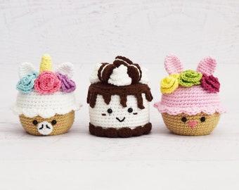 CROCHET PATTERNS - Unicorn Cupcake and Oreo Ice Cream Cake and Bunny Cupcake - Amigurumi food pattern toy food pretend play crochet cake