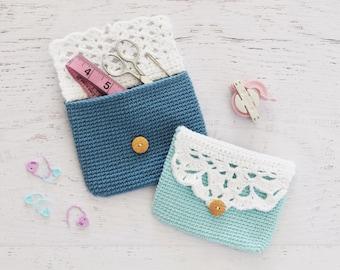 CROCHET PATTERN - Button Pouch - crochet purse, button bag, easy crochet pattern, change purse, clutch, travel pouch, crochet bag