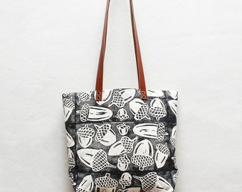 Acorn Block Printed Canvas Tote Bag