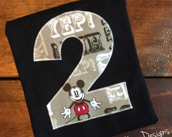 Custom name and number Mickey Mouse birthday shirt