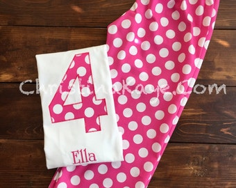 Custom name and number Girls pink polka dot birthday pajamas