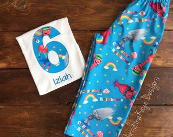Custom name and number Trolls birthday pajamas