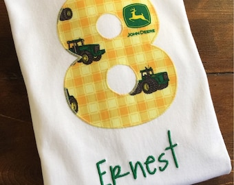 Custom name and number tractor birthday shirt
