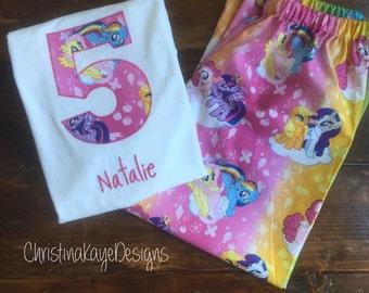 Custom name and number My Little Pony birthday pajamas