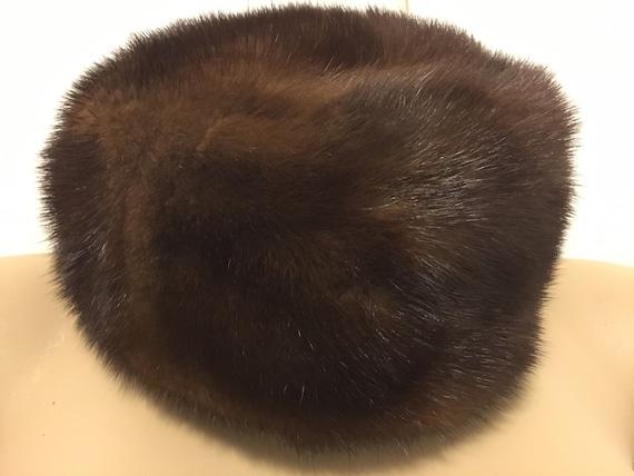 Vintage Bonwit Teller Brown Mink Hat Size Small - image 1