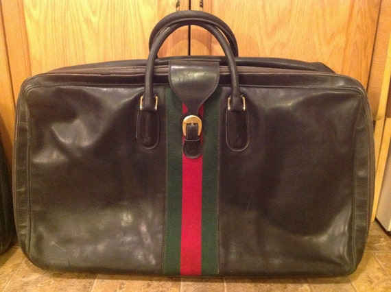 26934e30053 Extra Large Vintage Gucci Suitcase Black Leather with Web