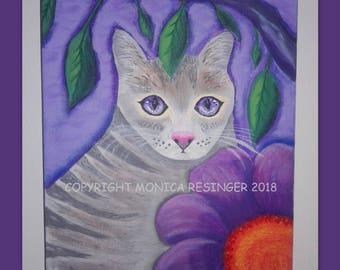 "8x10"" Original Stretched Canvas Acrylic Whimsical Violet Eyed Grey Tabby Kitty Cat Painting Symbolic Meaningful Wall Art"