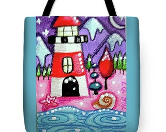 Tote Bag w/Art Print On Both Sides - by Monica - Red & White Lighthouse w/Mountains - Functional Art!