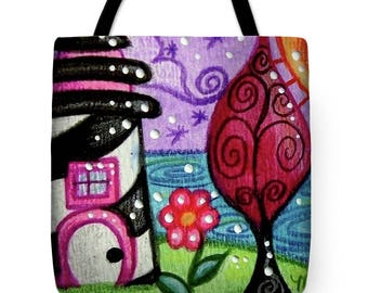 Tote Bag w/Art Print On Both Sides - by Monica - Black & White Lighthouse - Functional Art!