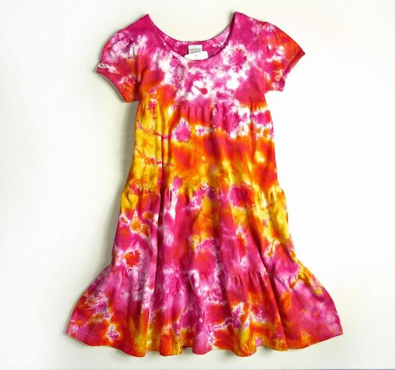 48b34f18f17cd Girls Tie Dye Dress / Short Sleeve Girls Tiered Ruffle Dress / Pink  Sunshine Design / Eco-friendly Dyeing