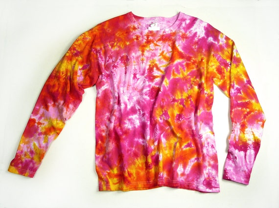 Ladies Long Sleeve Tie Dye Shirt Womens Shirt Pink Sunshine  bd772d6ff9