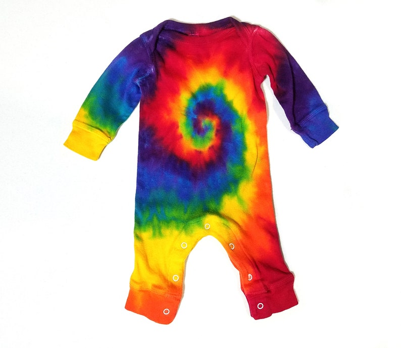 b966258aaa6d Rainbow Spiral Baby Tie Dye Coverall Long Sleeve Jumpsuit