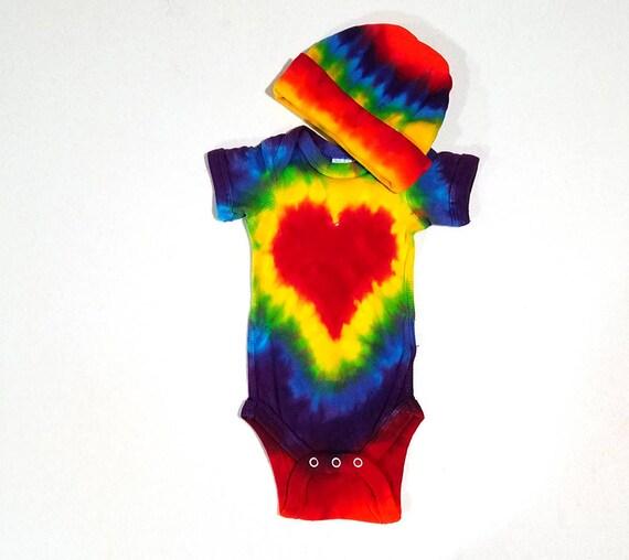 RED HEART TIE DYE GERBER BABY ONESIE