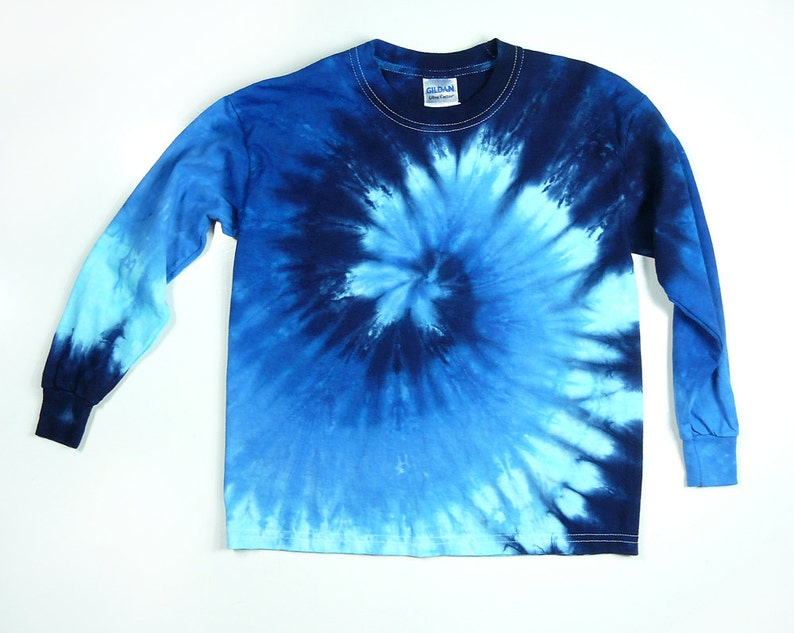 Youth Blue Spiral Long Sleeve Tie Dye T Shirt Eco-friendly  8aec5cd05