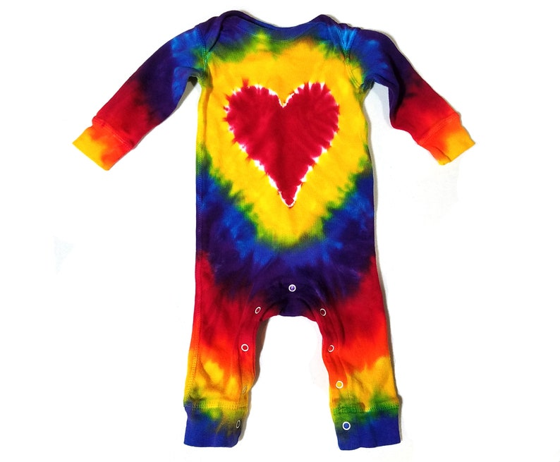 ee9f8050e08c Rainbow Heart Baby Tie Dye Coverall Long Sleeve Jumpsuit