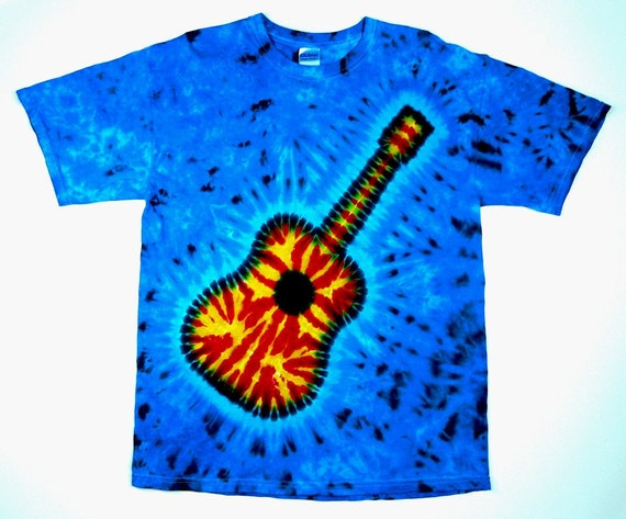 Guitar Tie Dye Shirt Adult and Plus Sizes Short or Long  08114fb30