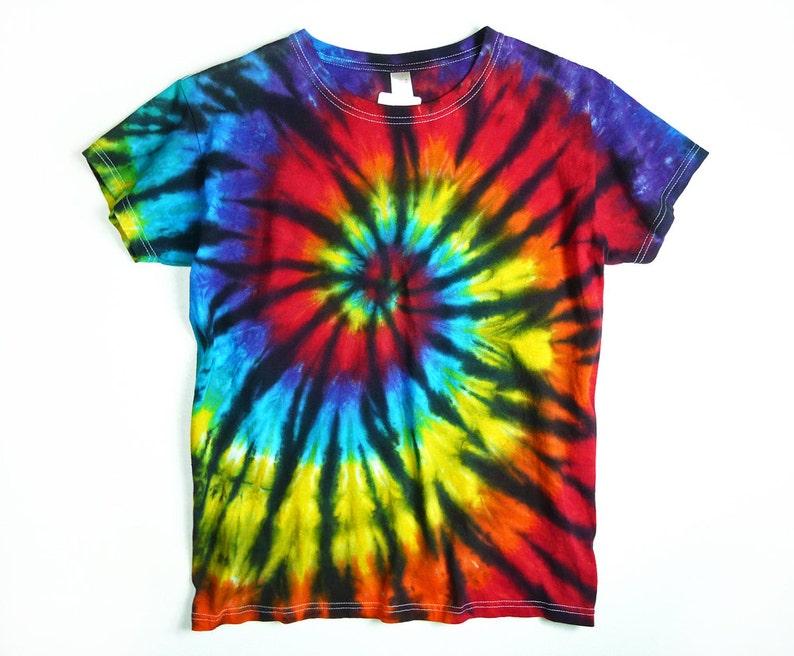 2a587842b3c0e8 Ladies Tie Dye Shirt Rainbow Spiral With Black Design