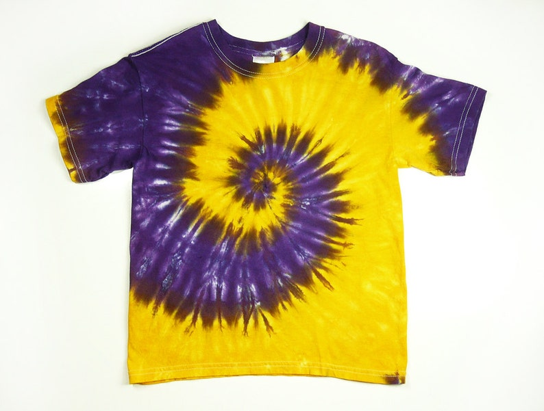 8c7120026c3ae Purple And Gold Youth Tie Dye Shirt / Youth Purple And Yellow Spiral Design  / Size XS, S, M, or L / Eco-friendly Dyeing