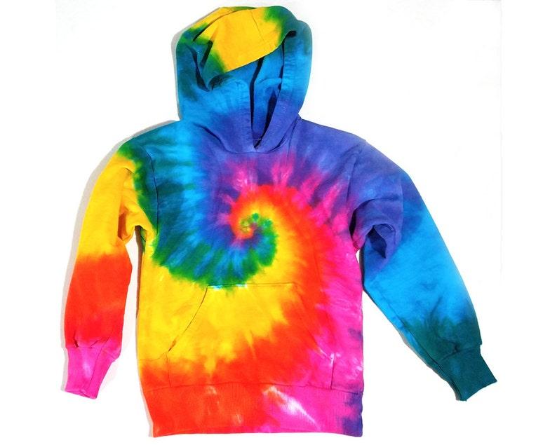 541f861568800 Kids Tie Dye Hoodie, Pullover Hooded Sweatshirt, Pink Rainbow Spiral  Design, Youth Sizes 8, 10, 12, Eco-friendly Dyeing