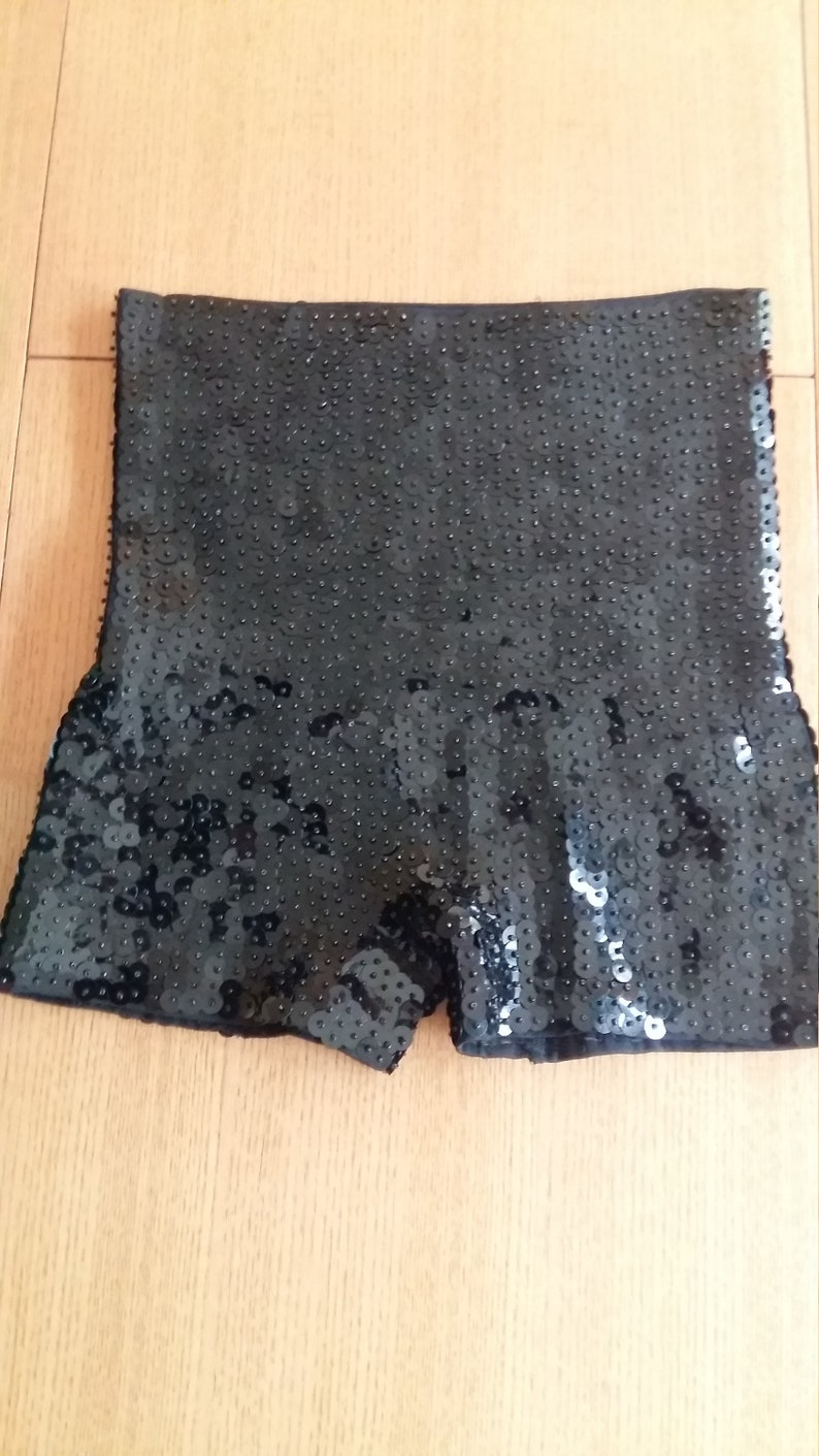 Sequin elastic Pants DanceClubbingDrag Queen performance Thick Material BLACK High waist Shorts Will fit AU size 8-14 ! MLXL Size