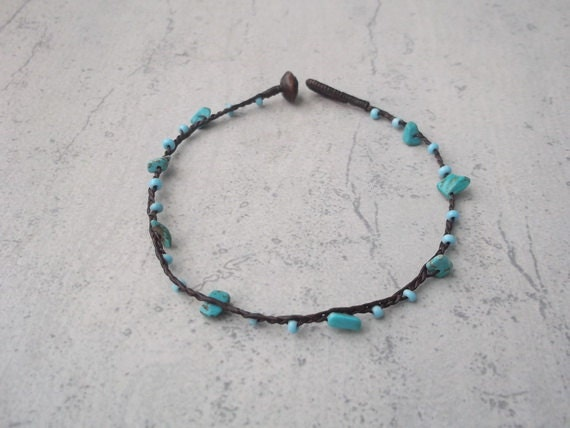 Summer anklet/Spiritual /Artisans jewelry/Cool turquoise ...
