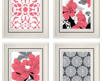 Set of Four Modern Vintage Coral/Gray Wall Art - Print Set - Home Decor - 8x11 Prints (Unframed)