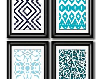 Set of Four Modern Vintage Turquoise/Dark Blue Wall Art - Print Set - Home Decor - 8x11 Prints (Unframed)