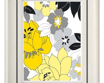Modern Vintage Yellow/Gray Wall Art - Home Decor (Unframed)