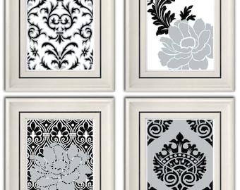 Set of Four Modern Vintage Black/Gray Wall Art - Print Set - Home Decor - 8x11 Prints (Unframed)