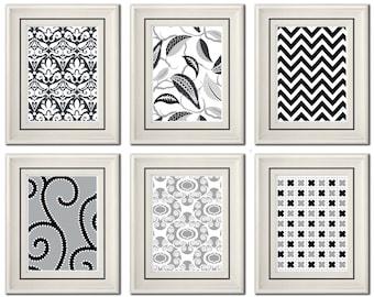 Set of Six Modern Fuchsia/Gray Wall Art- 5xx7 Print Set - Home Decor (Unframed)