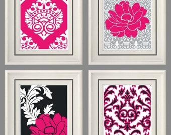 Set of Four Modern Vintage Fuchsia/Gray Wall Art - Print Set - Home Decor - 8x11 Prints (Unframed)