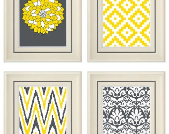 Set of Four Modern Vintage Yellow/Gray Wall Art - Print Set - Home Decor - 8x11 Prints (Unframed)