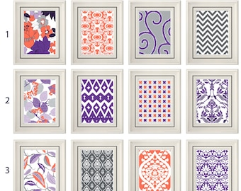 Set of Four Modern Vintage Coral/Purple Wall Art - Print Set - Home Decor - 8x11 Prints (Unframed)
