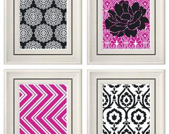 Set of Four Modern Fuchsia/Gray Wall Art- Print Set - Home Decor (Unframed)