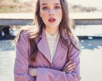 Vintage Pink Wool Coat / Cashmere Coat / Pale Pink Midi Coat / Vintage Women's Pink Coat / Oversized Coat / One Size