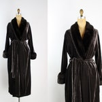 Vintage Dark Brown Velvet Robe / 70s Faux Fur Brown Robe / Vintage Robe / Boudoir / Velvet Robe / Wedding Nightgown / One size