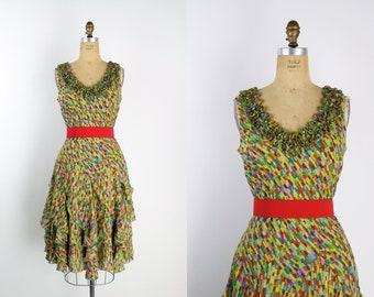 1b65adb665 80s Rainbow Confetti Dress   Colorful Dress   90s Dress   Ruffle Dress    Size M L