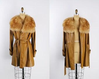 0c5040312ce 60s Penny Lane Faux Fur Coat   Vintage Belted Coat   Caramel Coat   Winter  Coat   60s Fur Coat   1960s   Leather Coat   Fur Trim Coat