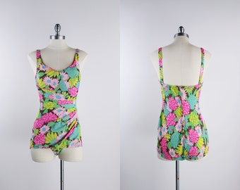 01ec3a26fd 50s Floral One Piece Bathing Suit / Pin Up / 1950s Swim / Rainbow / Pastels  / 50s Swimwear / Size S/M