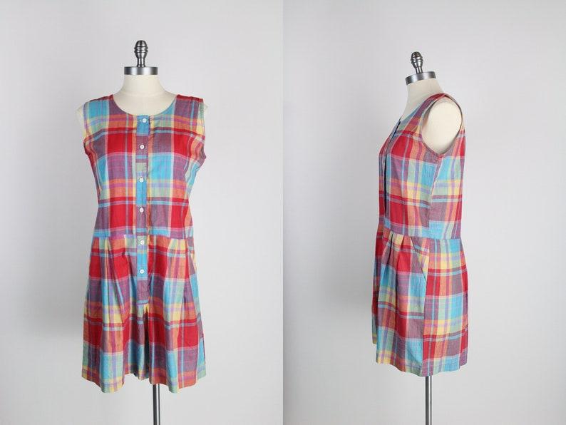 80s Plaid Romper / Cotton / Romper Shorts Women's / Red image 0