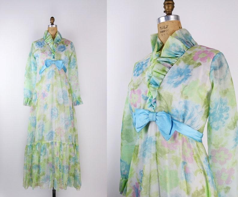 60s Floral Ruffle Maxi Dress / Bow Dress / Vintage Maxi Dress image 0