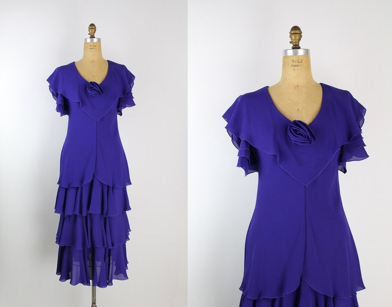 70s Ruffles Purple Party Dress / Prom Dress / Tulips Sleeves / image 0